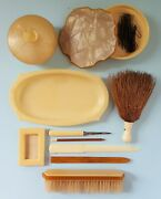 Misc Lot Vintage Acwalite Celluloid Vanity Ivory And Butterscotch Tray Boxes Brush