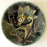 Artist Signed Puigdemont Spain Art Pottery Redware Fish Plate Mid Century Modern