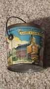 Antique Lovell And Covel Candy Pail 1776 Historical Scenes Tin Lithograph Rare