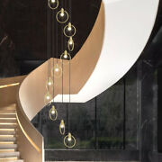 Modern Galaxy Big Stairs Led Round Ring Pendant Lamp Ceiling Light Chandelier
