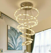 Led Galaxy Ring Crystal Chandelier Pendant Light Ceiling Lamp Stair Living Room