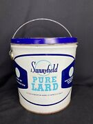 Antique Sunnyfield 4lb Pure Lard Blue And White Tin With Bail Handle Bright Colors