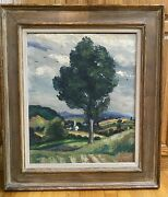 Charming Large Ernest Fiene 1894-1965 Landscape Painting New York Countryside