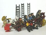Lot Of 15 Cast Iron Toys, Fire Truck, Horse Cart, Ladders, People And Misc. Used