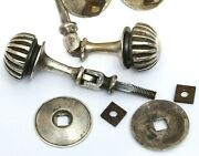 Set X 8 Antique Chest/drawer/cabinet Silver Plated Brass Melon Drop Pulls Handle