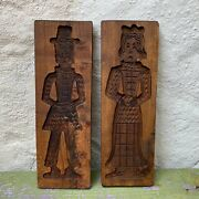 Vintage Pair Of Wooden Dutch Man Woman Speculaas Cookie Holland Biscuit Mold