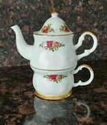 Royal Albert Fine China Old Country Roses Individual Teapot And Cup