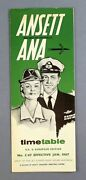 Ansett Airways Airline Timetable January 1967 Uk And European Edition Cabin Crew