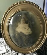 Antique Curved Bubble Glass Convex Picture Frame And Photo Of Little Girl 22 X18