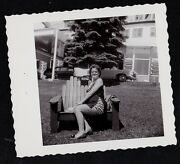 Antique Photograph Woman In Sexy Dress Sitting By Cool Vintage Car Auto