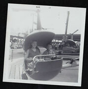 Antique Vintage Photograph Young Children On Helicopter Ride At Carnival 1963