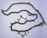 David Yurman Necklace Toggle Sterling 18k Pearls Topaz Turquoise 36 9mm Rolo