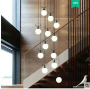 Black/gold Glass Ball Hanging Pendant Light Fixture Stairs Led Chandelier Lamp