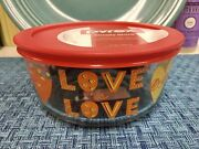 """Pyrex """"love Is Love"""" Hearts 4-cup Glass Storage Bowl And Red Cover New Htf 2021"""