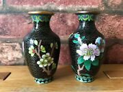 Antique Chinese Miniature Black And Gilt Floral Decorated Cloisonné Baluster Vases