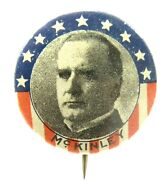 1896 William Mckinley President Sweet Caporal Tin Embossed Back Pinback Button Z