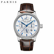 Parnis Men Top Automatic Watch Moon Phase Power Reserve Miyota 9100 Movement