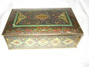 Vintage Tin Schrafftand039s Chocolates Candy Box Hinged Lid Oriental Rugs Multycolors