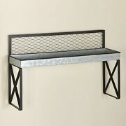 Galvanized Farmhouse Accent Wall Mounted Shelf For Over The Sink
