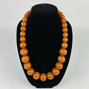 Bakelite Orange Beaded Chunky Necklace 28 Long End To End 238g Barrel Clasp