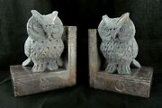 Wise Owl Soapstone Carved Bookends Bird And Book Design Pair