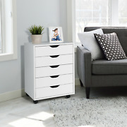 5 Drawer Mobile Lateral Filing Storage Home Office Floor Cabinet With Wheels