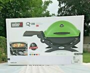 Weber Q 1200 Portable Tabletop Propane Gas Bbq Grill Quick Outdoor Camping Green