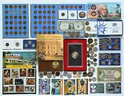 Huge Us+foreign Coin And Currency Collection Silver Dollar Stamps Junk Drawer Lot