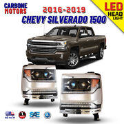 Led Headlights Fits 2016-2019 Chevy Silverado 1500 Sequential Turn Signals Lamps