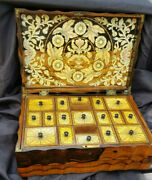 Antique Coramandel Wood Sewing Box Bone And Brass Inlay With Key