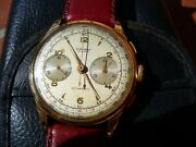 Cronografo Vintage Fisher Watch Chronograph In Oro 750 18k Oversize 375mm Bello
