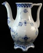 Royal Copenhagen Blue Fluted Full Lace Coffee Pot No Lid Great Condition Mfg 2nd