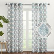 Nicetown Linen Sheer Curtains For Farmhouse - Grommet Top Fashion Leaves Prin...