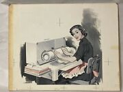 1950and039s Orig Illustration Art Of A Coca Cola Girl Early Post Ww 2 Temp Service