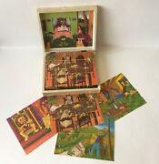 Vintage Wooden Block Cube Puzzle In Wooden Hinged Box Made In Czechoslovakia
