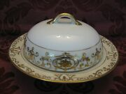 Antique Noritake 175 Christmas Ball China Round Covered Butter Dish - Nice