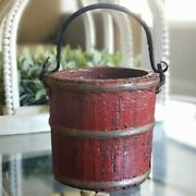 Antique Primitive Small Wood Berry Bucket Pail Forged Iron Handle Red Paint