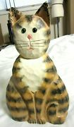 James Hadden Hand Crafted Striped Wooden Cat 12 X 6 1/2