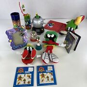 Vintage Marvin The Martian Collection Lot Telephone Book, Remote Holder, Plush