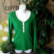 Womens Top Thermal Long Sleeve Shirt Green Gold Stripe Size S