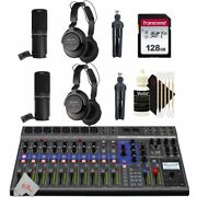 Zoom Livetrak L-12 12 Channel Mixer Multitrack Recorder + Two Podcast Mic Pack