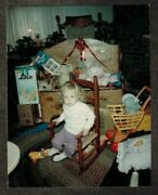 Antique Vintage Photograph Cute Little Baby Sitting In Rocking Chair By Toys