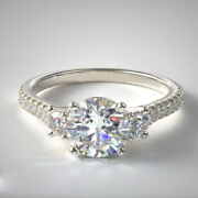 1.00 Carat Round Real Diamond Bridal Rings Solid 14k White Gold Size 5.5 6 7 8 9
