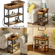 Rolanstar End Table With Charging Station Narrow Flip Top End Side Table With S