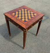 Vintage Maitland Smith Games Table Solid Mahogany With Banded Inlay Bronze Knobs