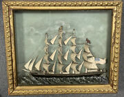 Antique 19th C Maritime Ship Diorama In A Shadow Box Frame Titled Madeline C1900