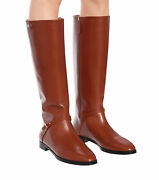 Nib Rosie 25mm Brown Leather Logo Riding Boots 36.5 New In Box