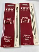 Lot Of 2 Cross Vintage .9mm Pencil Refills - Total Of 24 Leads And 6 Erasers 8401