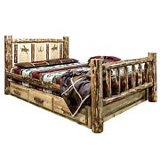 Log Storage Bed Queen Drawers Laser Western Woodburning Rustic Unique Beds