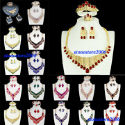 African Dubai Jewelry Set Crystal Necklace Earrings Ring Bridal Wedding Chokers